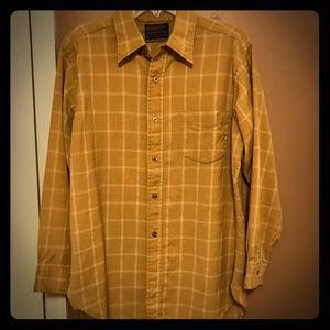 Vintage Pendleton mustard and white wool shirt